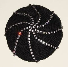 Kippah Crochet Black with Swarosky Design