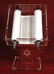 "Acrylic Torah Stand w/moveable Torah and Star of David on Pedestal - Size: 6"" x 4"" Base and 10.5"" Ht"