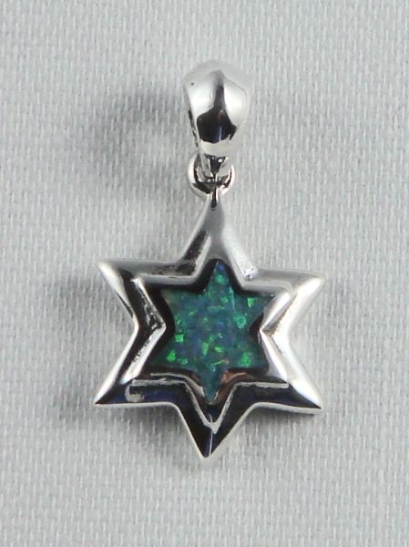 "Charm Star Of David Opal 3/4"" Long Sterling Silver"