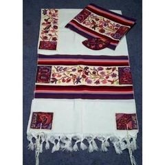Talit Set Matriarchs by Yair Emanuel Birds Multi 18 Inches X 72 Inches - Made In Israel
