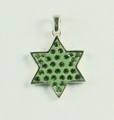 Necklace Star of David Green w/stones Sterling Silver