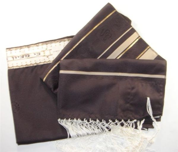 Talit Polyester Shvotim (12 Tribes) Brown/Gold Tones 22 Inches X 72 Inches