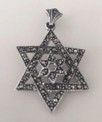 "Star of David Sterling Silver ""Star within a Star"" Shiny - 925"