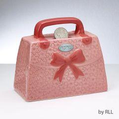 Pink Purse Ceramic Tzedakah Box