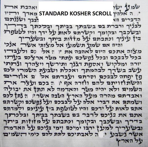 Kosher Scroll Handwritten Standard & Large - Sold Separately From Mezuzah Cases