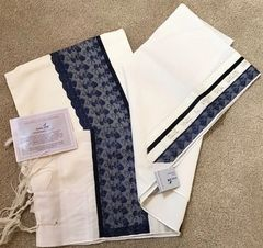 Talit Set (Talit/Bag) Wool Blue/Lace Size: 18 inches x 72 inches - Made by Eretz Judaica in Israel