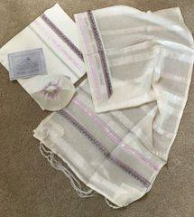 Lilac Beaded, Organza Ribbons With Transparent Stripes On A Soft, Off White Polyester. Gives An Impressive And Gentle Look At The Same Time. By Eretz