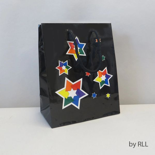 "Gift Bag, black/multi, Stars, 9"" x 7"""
