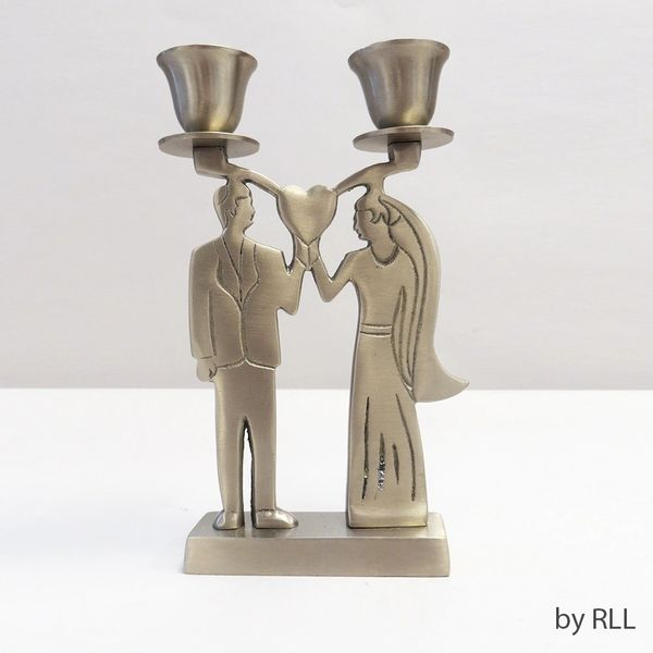 Bride/Groom Candlesticks,Antique Silver,Velvet box