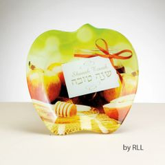 Rosh Hashana Glass Apple Plate,Boxed