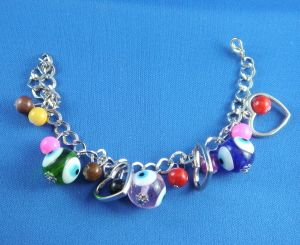 Bracelet Silver Finish With Eyes And Colored Beads