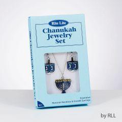 Set of Dreidel Earrings & Menorah Necklace in a Gift Box