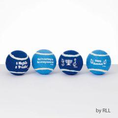 """Chewdaica"" Set of 4 Chanukah Dog Tennis Balls"
