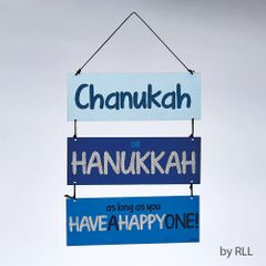 3 Piece Painted Chanukah Sign w/ Glitter Accents