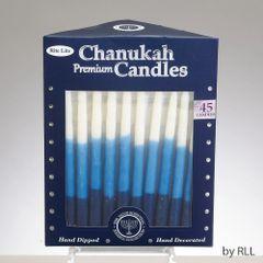 Premium Chanukah Candles - Blue, Light Blue & White