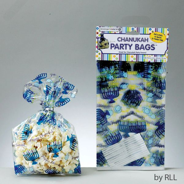 Chanukah Cellophane Party Bags with Twist Ties, 12/Pkg