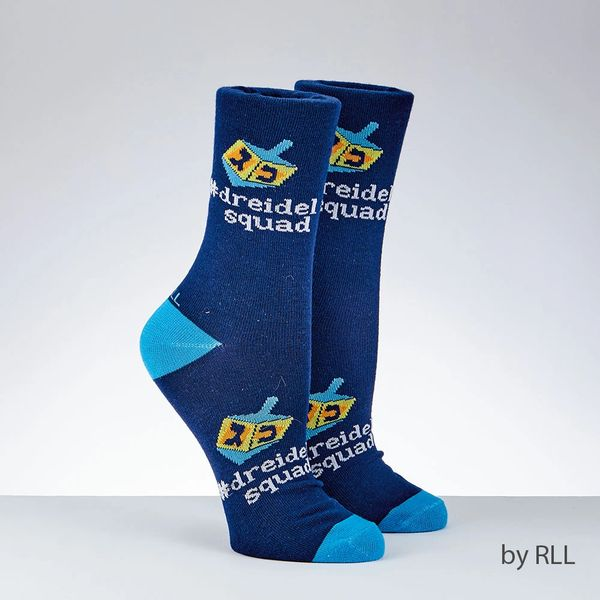 "Chanukah Adult Crew Socks, ""Dreidel Squad"""
