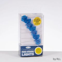 Battery Operated Mini String Lights, Dreidel and Menorah