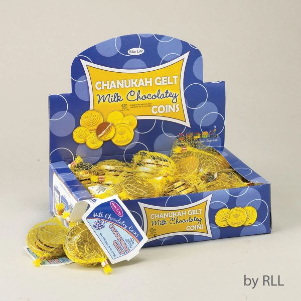 Chanukah Gelt Milk Chocolate Coins - Box of 24 bags