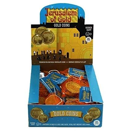 Chanukah Gelt Milk Chocolate Coins - Box of 24 bags - NUT FREE