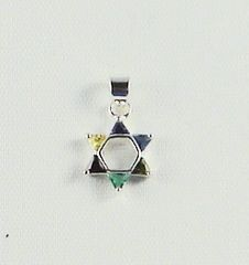 Charm Star Of David Small 1/2 Inches Long With Multi Color Stones, Sterling Silver