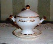 Horseradish Dish Porcelain White w/Gold Trim