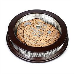 Round Matzah Box Wood/Silver Plated