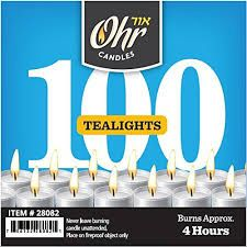 Tealights Ohr Candles - 100 pack - Burns Approx. 4 Hours