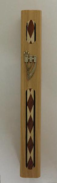 Olive Wood with Diamond Design Mezuzah Case 12cm