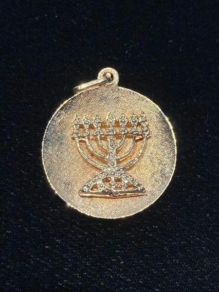 """Charm Menorah Medallion 3/4"""" Diam,"""