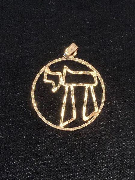 "Charm Chai 1"" Circle 14kt Gold"