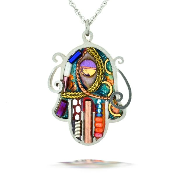 Seeka Green Art Nouveau Hamsa Necklace
