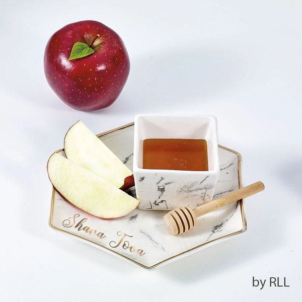 Hexagon Shaped Porcelain Apple & Honey Dish Set, Marble