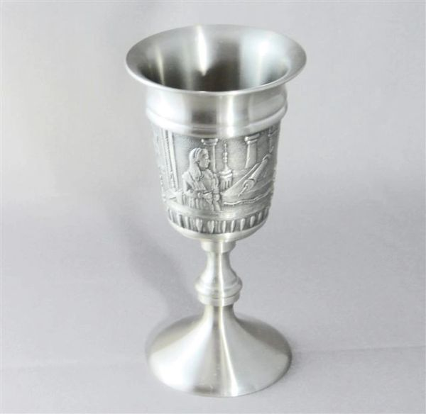 """Bat Mitzvah Kiddush Cup Pewter - 5.5"""" HT - Suitable for personalization"""