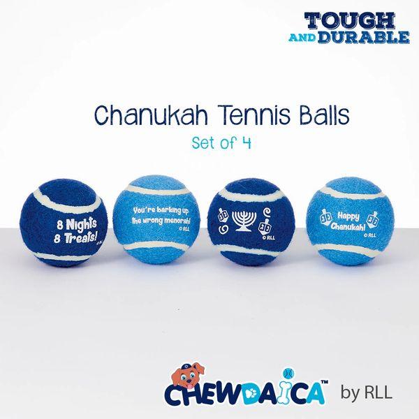 """Chewdaica""™ Set of 4 Chanukah Dog Tennis Balls"