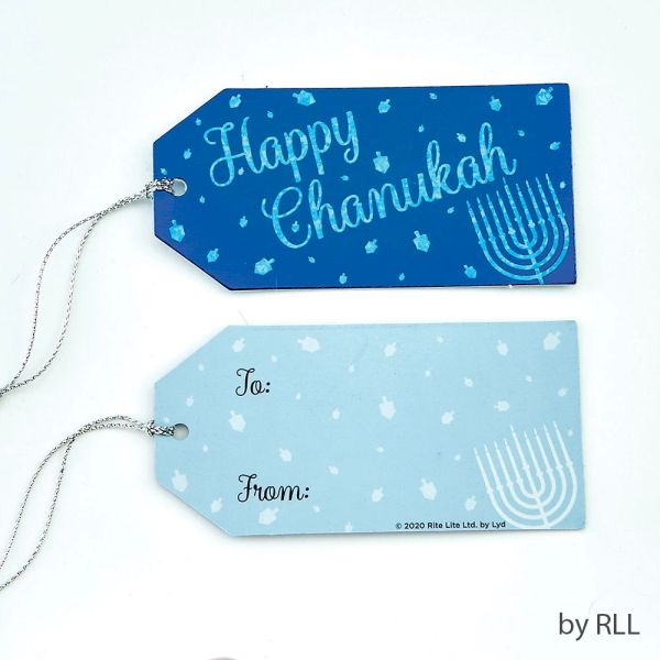 Chanukah Gift Tags, Set of 8, Silver Foil & Hologram Printing