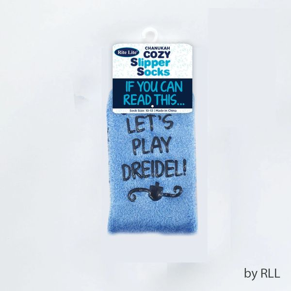 Chanukah Cozy Slipper Socks, Dreidel Design