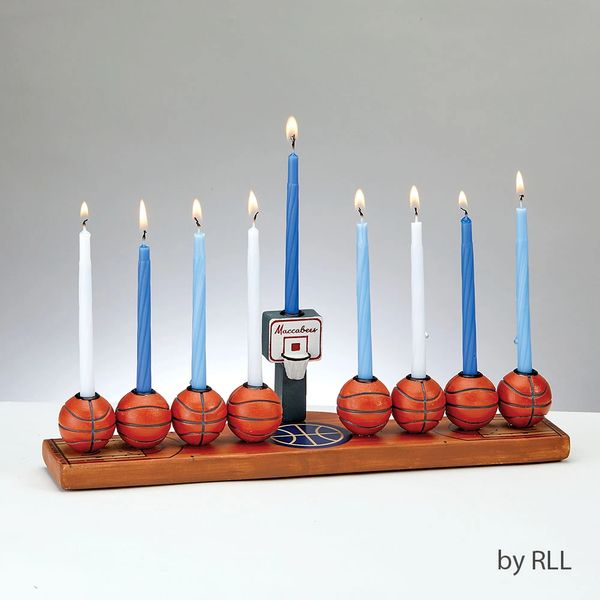 Hand-Painted Resin Basketball Menorah