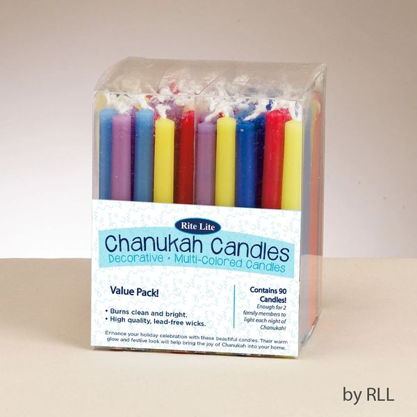 Value Pack of Decorative Multicolored Chanukah Candles