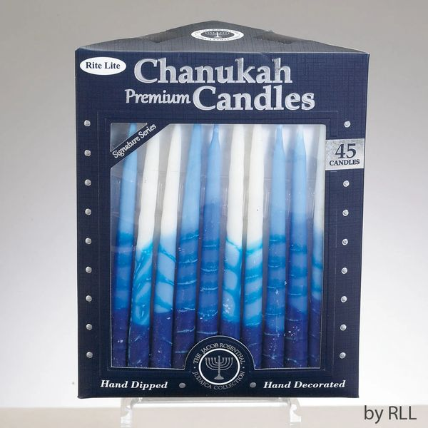 Premium Chanukah Candles - Striped Blue, Light Blue & White