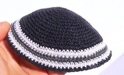 Kippah Crochet Black White Grey - Large Adult Size