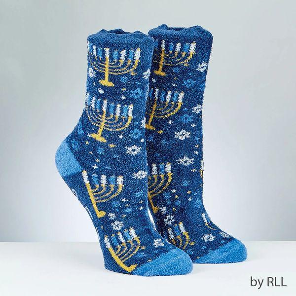 Chanukah Cozy Slipper Socks, Menorah Design