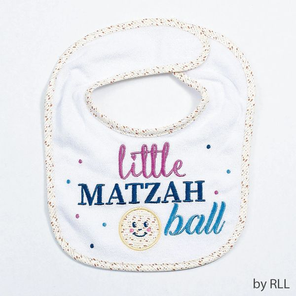 """Little Matzah Ball"" Embroidered Passover Bib"