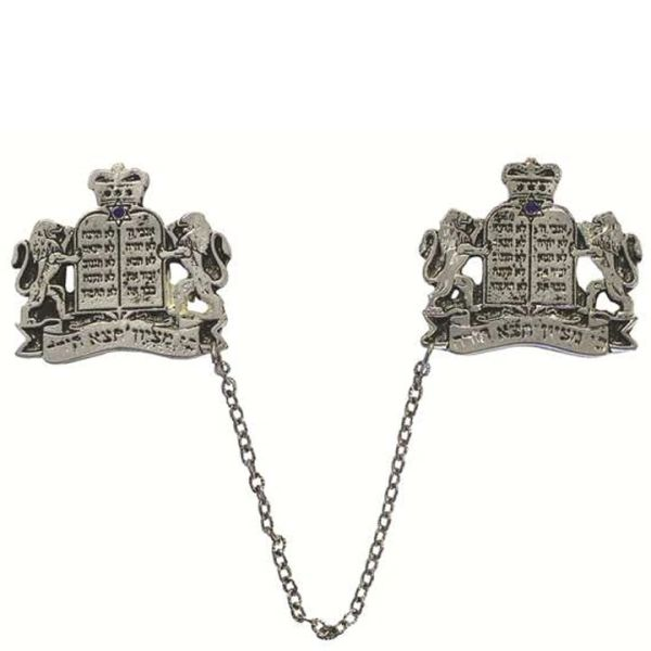 Lions and Ten Commandments Silver Plated Tallit Clips