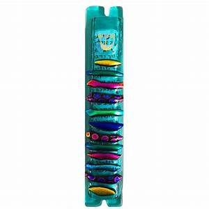 """Mezuzah Case Glass Teal/Colors 5"""" by Sandi Katz"""