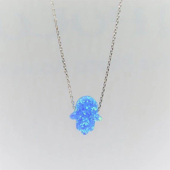 Blue Opal Hamsah w/Sterling Silver Necklace