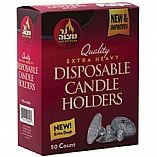 Disposable Candle Holders Aluminum Box Of 50 Drippers Extra Heavy/Extra Deep