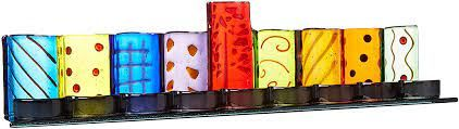 """MENORAH PAINTED GLASS TEALIGHT - SIZE 20""""W x 4.5""""H(TEALIGHTS SOLD SEPARATELY)"""