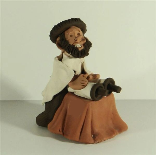 Ceramic Rabbi Reading Torah Figurine, Hand Made In Israel, 5.5 Inches H X 3-7/8 Inches W X 4 Inches D,