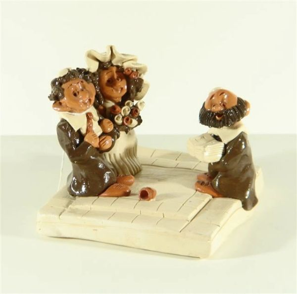 Ceramic Wedding Ceremony Figurine 4 Inches H X 4.5 Inches X 4.5 Inches Base, Made In Israel